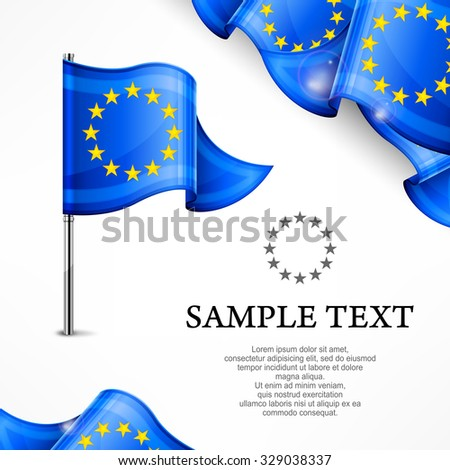 European flag & banners with text isolated on white, vector illustration