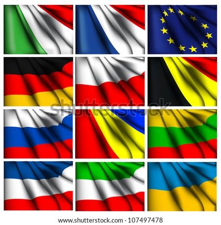 European flag set eps10 - stock vector