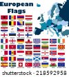 European flag set in alphabetical order, with an editable map of Europe. - stock photo