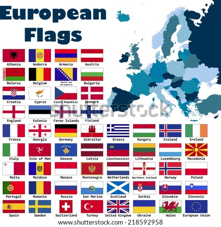 European flag set in alphabetical order, with an editable map of Europe.
