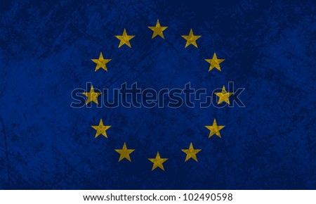 European flag with a grunge texture effect. - stock vector