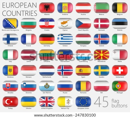 European Flags. Buttons Icons. This image is a vector illustration and can be scaled to any size without loss of resolution. This image will download as a EPS file. 45 Flag Buttons. Icon set - stock vector
