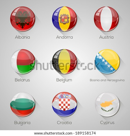 European flags set glossy buttons with long shadows. Vector illustration. Part 1