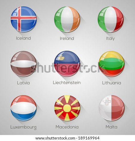 European flags set glossy buttons with long shadows. Vector illustration. Part 3