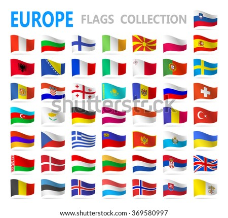 European flags - vector illustration
