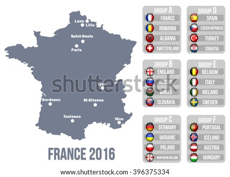 European football championship 2016 - stock vector