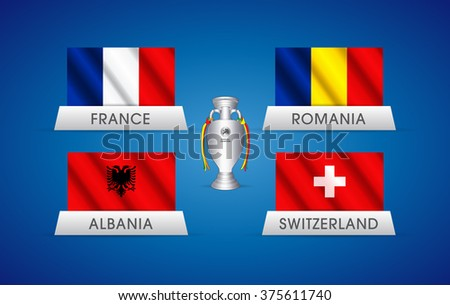 European football championship in France. Waving vector flags of France, Romania, Albania and Switzerland with a trophy illustration. Group A Euro 2016. - stock vector