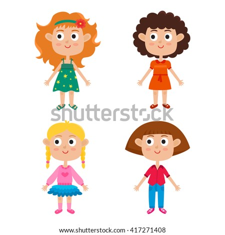 European girls body template: front. Vector illustration of trendy cute cartoon girls isolated on white background: red-haired, blonde, curly and brown-haired. Cute fashion clothes for girls.