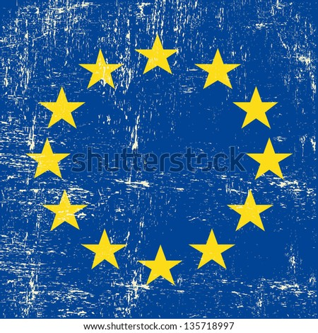 European grunge Flag. A square flag of european union with a texture