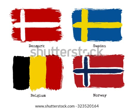 European grunge flags. Flags of Denmark, Sweden, Belgium and Norway. Vector illustration - stock vector