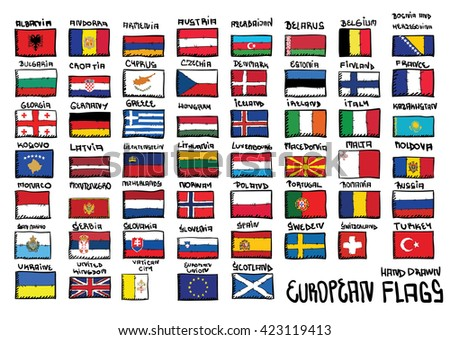 European  hand drawn flags