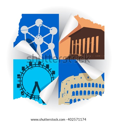 European historical monuments.  Collage of silhouettes of  famous European buildings. Vector available.  - stock vector