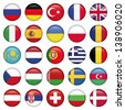 European Icons Round Flags, Zip includes high resolution image, Illustrator files. Vector with transparency. - stock photo