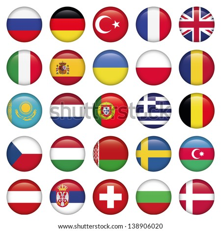 European Icons Round Flags, Zip includes high resolution image, Illustrator files. Vector with transparency. - stock vector