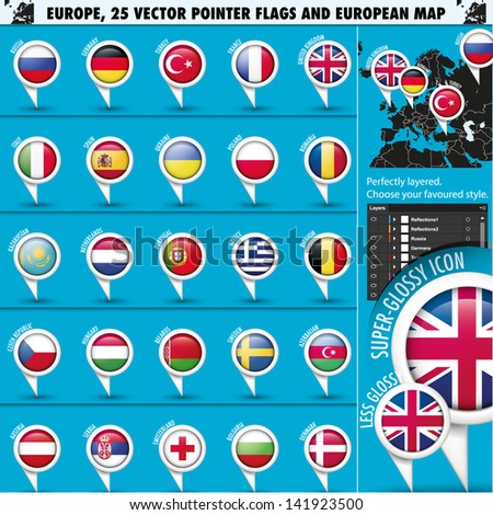 European Icons Round Indicator Flags and Map Set1 - stock vector