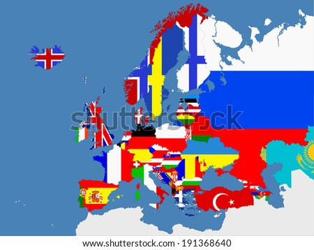 European map with country flags - stock vector