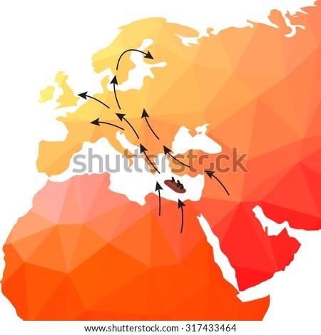 European refugee crisis. - stock vector