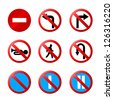 european road signs with details - stock vector