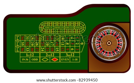 European roulette table in the vector - stock vector