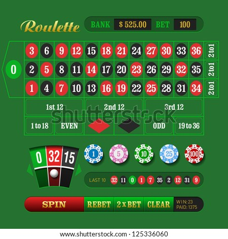 European Roulette. Vector. - stock vector