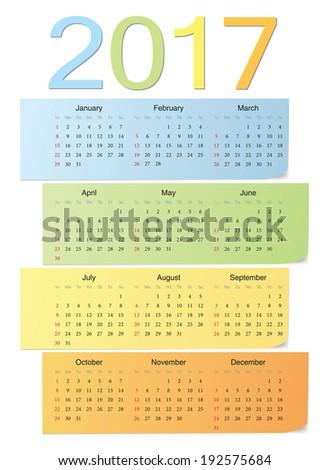 European school 2017 color bright vector calendar. Week starts from Sunday. - stock vector