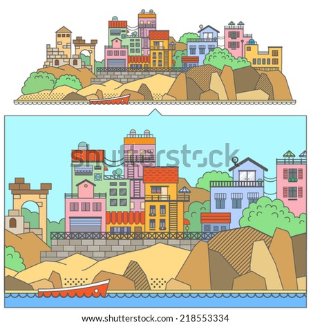 European street landscape. colorful houses on the rocks by the sea. Vector flat illustration - stock vector
