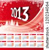European style 2013 Calendar. Monday week start. Vector red landscape background with christmas trees, waves and snowflakes - stock vector