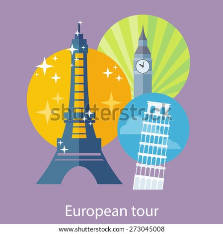 European traveling tour, touristic banner. Composition with famous european world landmarks icons. Can be used for web banners, marketing and promotional materials, presentation templates  - stock vector