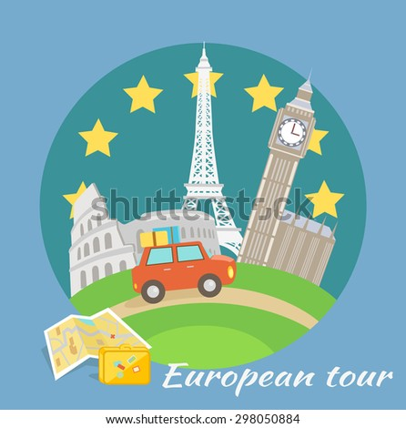 European traveling tour, touristic banner. Composition with famous european world landmarks icons. Car around Europe. Can be used for web banners, marketing and promotional materials, presentation - stock vector