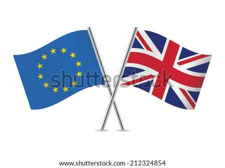 European Union and British flags. Vector illustration. - stock vector