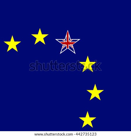 European Union and Great Britain flags concept background. UK star. Vector illustration