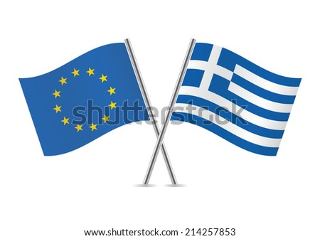 European Union and Greek flags. Vector illustration.