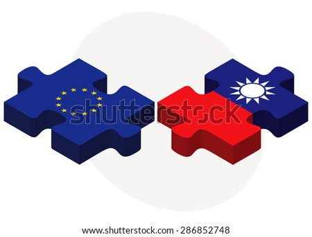 European Union and Taiwan Flags in puzzle isolated on white background - stock vector