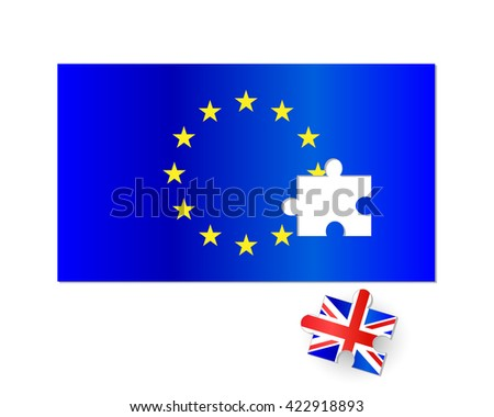 European Union and United Kingdom flag brexit jigsaw puzzle