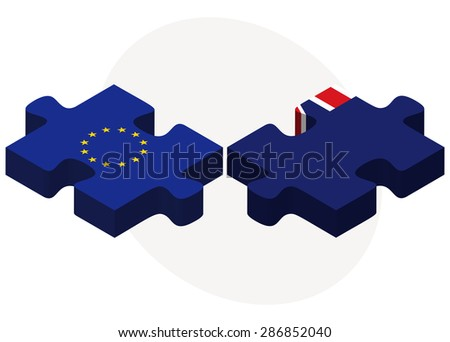 European Union and Virgin Islands (British) Flags in puzzle isolated on white background
