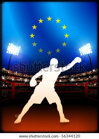 European Union Boxing on Stadium Background Original Illustration - stock vector