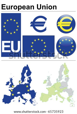 European Union collection including flag, plate, map (administrative division), symbol, currency unit & coat of arms - stock vector