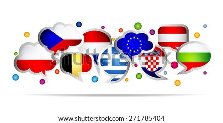 European Union countries bubble speech shapes. Set 3. Vector illustration. - stock vector