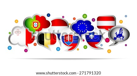 European Union countries bubble speech shapes. Set 4. Vector illustration. - stock vector