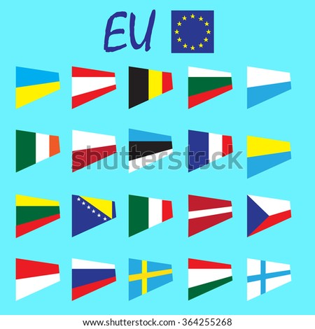 European Union country flags,member states EU. Europe countries flags set, state national flags. Web site buttons, language identification buttons. Simple flat design. Vector illustration art set - stock vector