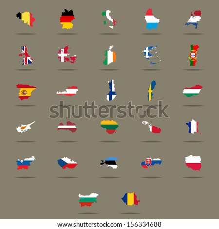 European Union country flags set. Vector illustration - stock vector