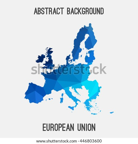 European Union,EU map in geometric polygonal,mosaic style.Abstract tessellation,modern design background. Vector illustration EPS8 - stock vector