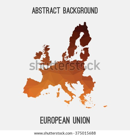 European Union,EU map in geometric polygonal style.Abstract tessellation,modern design background. Vector illustration EPS8.