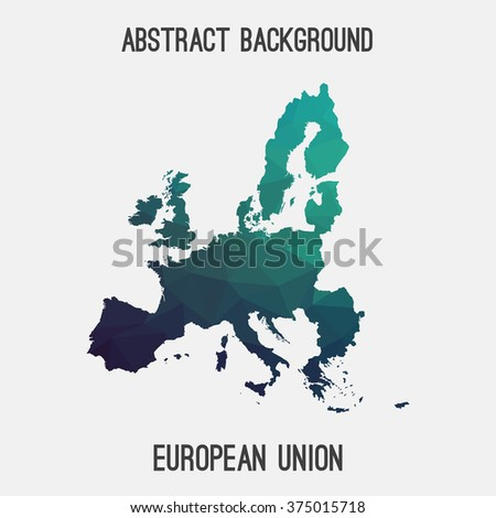 European Union,EU map in geometric polygonal style.Abstract tessellation,modern design background. Vector illustration EPS8. Modern style map of European Union. Triangle tessellation EU map. EU border - stock vector