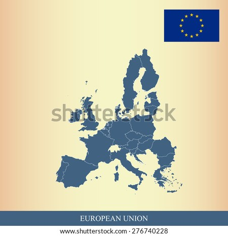 European Union flag and map outlines with boundaries/ borders/ polygons of EU countries on an abstract background, vector map of European Union and Flag  - stock vector
