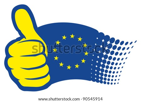 European Union flag (EU). Hand showing thumbs up - stock vector