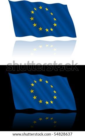 European Union Flag Flowing - stock vector