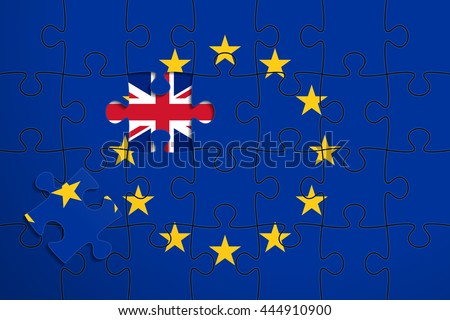 European Union flag in form of assembled jigsaw puzzle of 28 pieces, one piece was removed, flag of United Kingdom instead. United Kingdom withdrawal from the European Union. Brexit concept - stock vector