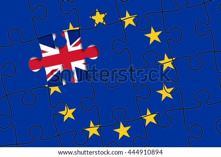 European Union flag in form of assembled jigsaw puzzle, one piece is missing, flag of United Kingdom instead. United Kingdom withdrawal from the European Union. Brexit concept - stock vector
