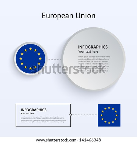 European Union Flag Set of Banners on gray background for Infographic and Presentation. Vector illustration. - stock vector